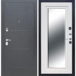 Входная дверь Гарда (серебро, зеркало фацет, белый ясень)