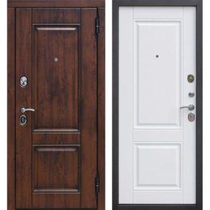 Входная дверь Вена (9,5 см, МДФ/МДФ, грецкий орех, белый матовый, патина)