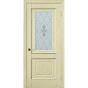 Межкомнатная дверь Schlager Provence Паскаль 2 (ясень патина, остеклённая)