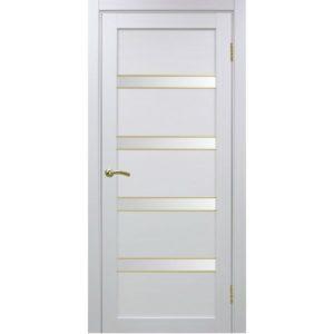 Межкомнатная дверь Optima Porte Турин 505 (АПС молдинг SG, белый монохром, остеклённая)