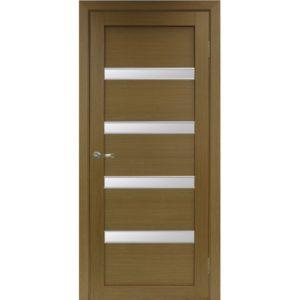 Межкомнатная дверь Optima Porte Турин 505 (АПС молдинг SG, орех, остеклённая)