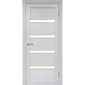 Межкомнатная дверь Optima Porte Турин 505 (АПС молдинг SG, ясень серебристый, остеклённая)