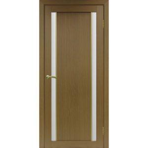 Межкомнатная дверь Optima Porte Турин 522.212 (АПС молдинг SG, орех, остеклённая)