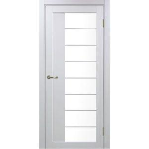 Межкомнатная дверь Optima Porte Турин 524 (АСС молдинг SC, белый монохром, остеклённая)