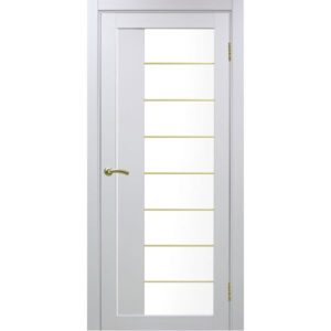 Межкомнатная дверь Optima Porte Турин 524 (АСС молдинг SG, белый монохром, остеклённая)