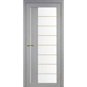 Межкомнатная дверь Optima Porte Турин 524 (АСС молдинг SG, дуб серый, остеклённая)