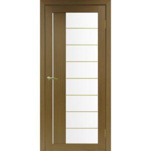 Межкомнатная дверь Optima Porte Турин 524 (АСС молдинг SG, орех, остеклённая)
