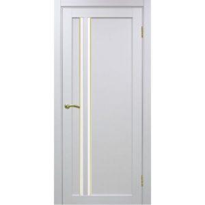 Межкомнатная дверь Optima Porte Турин 525 (АПС молдинг SG, белый монохром, остеклённая)