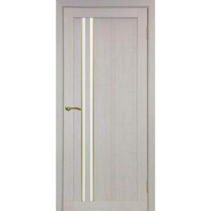 Межкомнатная дверь Optima Porte Турин 525 (АПС молдинг SG, дуб белёный, остеклённая)