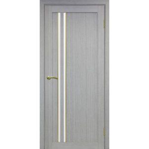 Межкомнатная дверь Optima Porte Турин 525 (АПС молдинг SG, дуб серый, остеклённая)