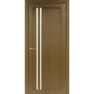 Межкомнатная дверь Optima Porte Турин 525 (АПС молдинг SG, орех, остеклённая)