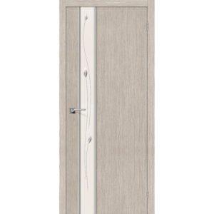 Межкомнатная дверь Глейс-1 (Sprig, 3D Cappuccino, остеклённая)
