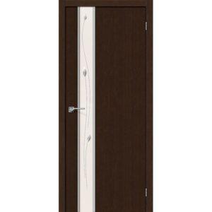 Межкомнатная дверь Глейс-1 (Sprig, 3D Wenge, остеклённая)