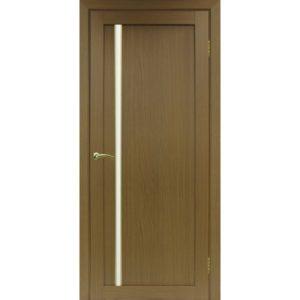 Межкомнатная дверь Optima Porte Турин 527 (АПС молдинг SG, орех, остеклённая)