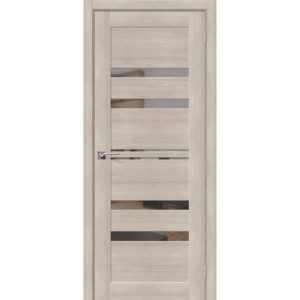 Межкомнатная дверь Порта-30 (Cappuccino Veralinga, остеклённая, с зеркалом)