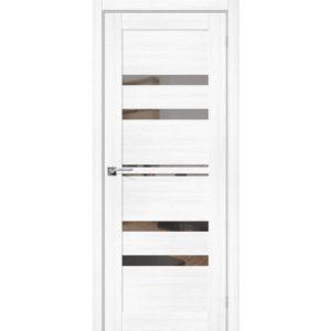 Межкомнатная дверь Порта-30 (Snow Veralinga, остеклённая, с зеркалом)