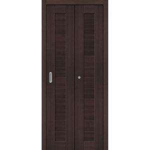 Складная межкомнатная дверь Порта-21 (Wenge Veralinga, глухая)