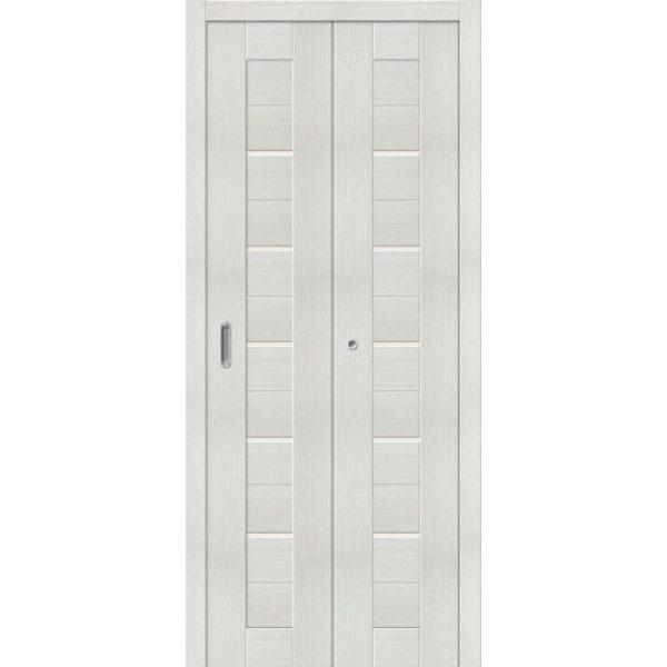 Складная межкомнатная дверь Порта-22 (Bianco Veralinga, остеклённая)