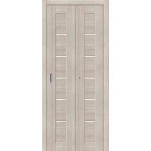 Складная межкомнатная дверь Порта-22 (Cappuccino Veralinga, остеклённая)