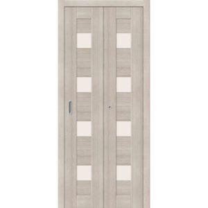 Складная межкомнатная дверь Порта-23 (Cappuccino Veralinga, остеклённая)