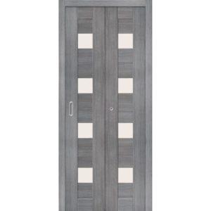 Складная межкомнатная дверь Порта-23 (Grey Veralinga, остеклённая)