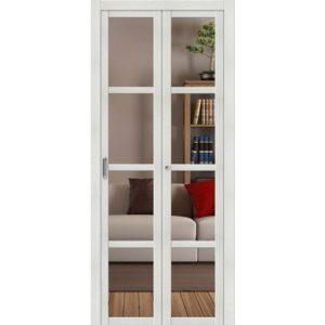 Складная межкомнатная дверь Твигги-V4 (Bianco Veralinga, остеклённая, Crystalline)