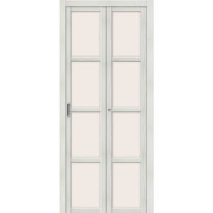 Складная межкомнатная дверь Твигги-V4 (Bianco Veralinga, остеклённая, Magic Fog)