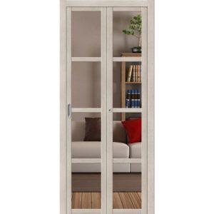 Складная межкомнатная дверь Твигги-V4 (Cappuccino Veralinga, остеклённая, Crystalline)