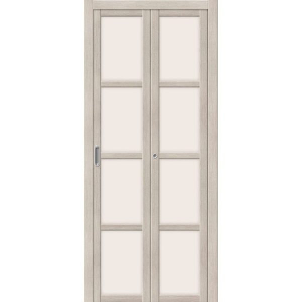 Складная межкомнатная дверь Твигги-V4 (Cappuccino Veralinga, остеклённая, Magic Fog)
