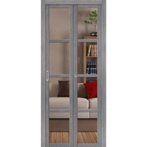 Складная межкомнатная дверь Твигги-V4 (Grey Veralinga, остеклённая, Crystalline)