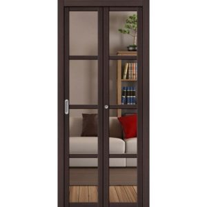 Складная межкомнатная дверь Твигги-V4 (Wenge Veralinga, остеклённая, Crystalline)