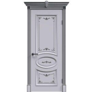 Межкомнатная дверь Safina А-33 (Белая эмаль, патина серебро, глухая)