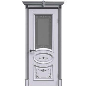 Межкомнатная дверь Safina А-33 (Белая эмаль, патина серебро, остеклённая)