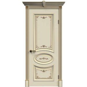 Межкомнатная дверь Safina А-33 (Слоновая кость, патина золото, глухая)
