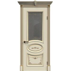 Межкомнатная дверь Safina А-33 (Слоновая кость, патина золото, остеклённая)