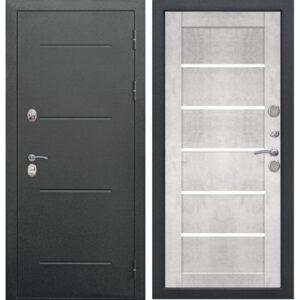 Входная дверь Isoterma (букле черный, бетон снежный)