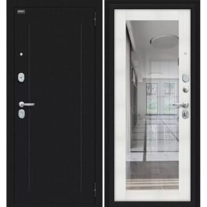 Входная дверь Bravo R Флэш (букле черное, bianco veralinga)