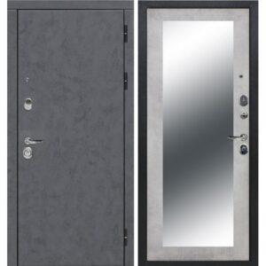 Входная дверь Монтана Зеркало Бетон Снежный