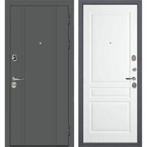 Входная дверь Порту Эмаль серая/Эмаль белая 10 см